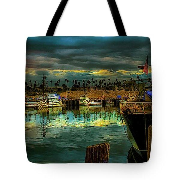 Fishing Harbor At Sunset Tote Bag