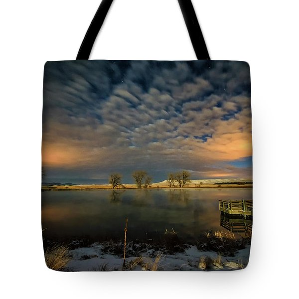 Fishing Hole At Night Tote Bag by Fiskr Larsen