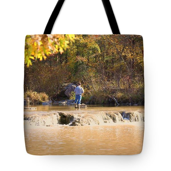 Tote Bag featuring the photograph Fishing In Fall by Sheila Brown