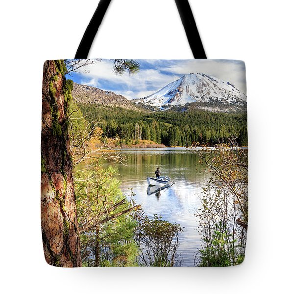 Tote Bag featuring the photograph Fishing In Manzanita Lake by James Eddy