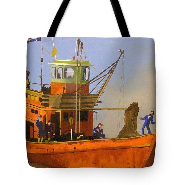 Fishing In Orange Tote Bag