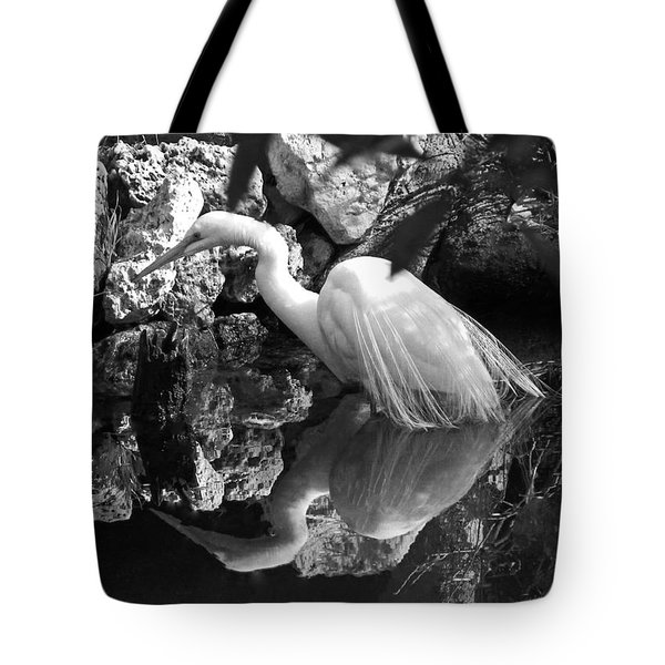 Fishing In The Creek In Black And White Tote Bag by Judy Wanamaker