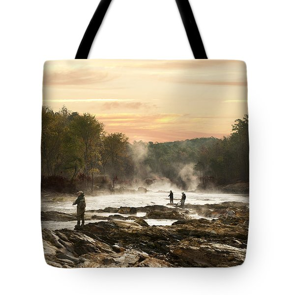 Fishing In The Mist Tote Bag