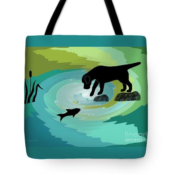 Fishing Labrador Dog Tote Bag