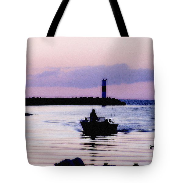 Tote Bag featuring the photograph Fishing Lake Ontario  Lake Ontario  by Iconic Images Art Gallery David Pucciarelli