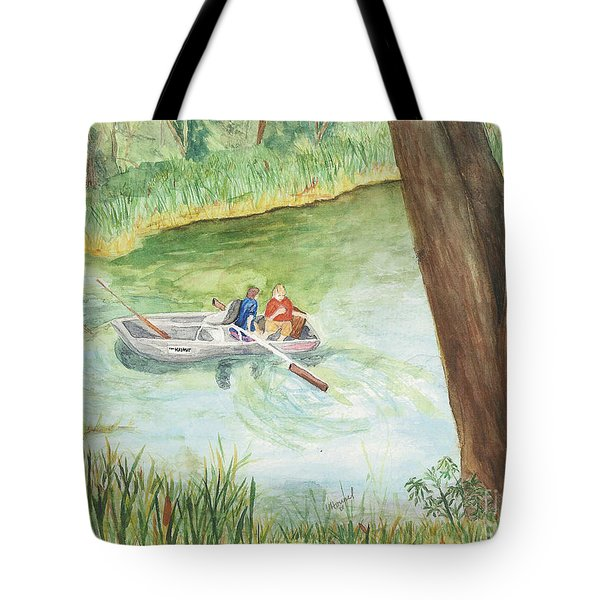 Tote Bag featuring the painting Fishing Lake Tanko by Vicki  Housel