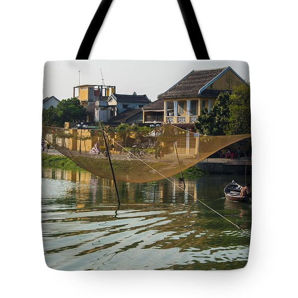 Tote Bag featuring the photograph Fishing Net In Vietnam by Rob Hemphill