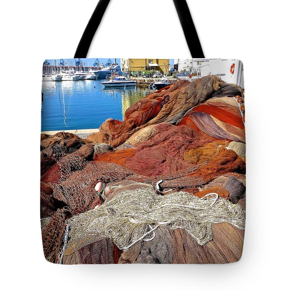 Fishing Nets Genoa Harbor Tote Bag