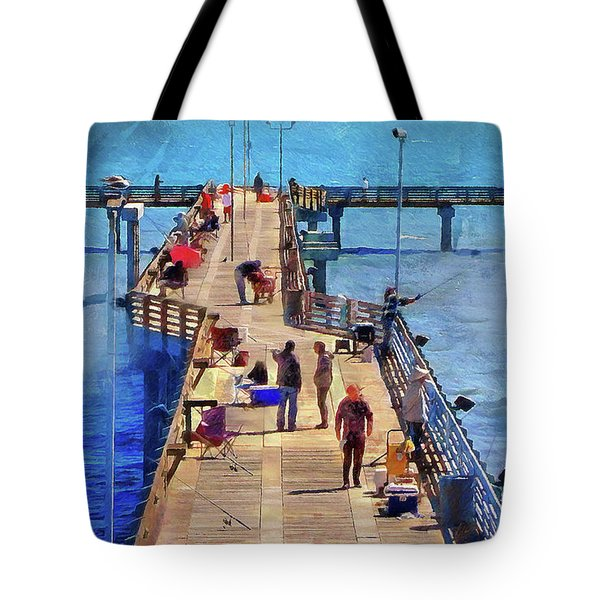 Fishing Off Galvaston Pier Tote Bag