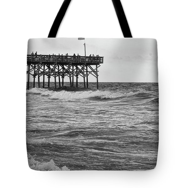 Tote Bag featuring the photograph Fishing Off The Pier At Myrtle Beach by Chris Flees