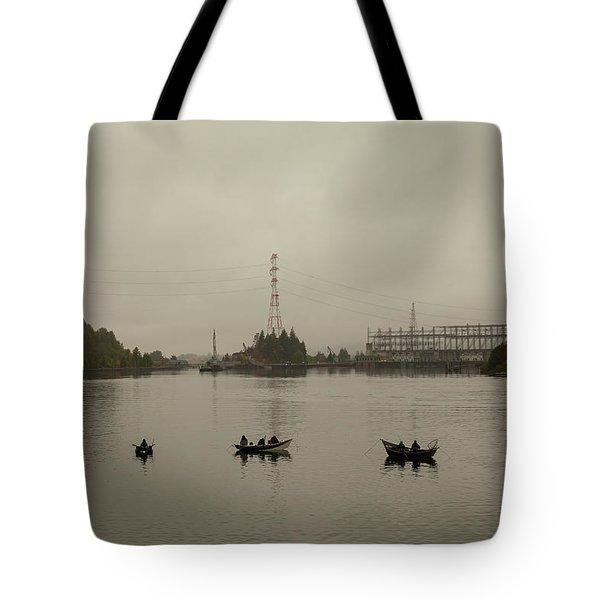 Fishing On Foggy Columbia River Tote Bag