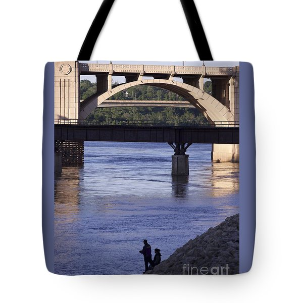 Fishing On The Mississippi River Tote Bag by Kate Purdy