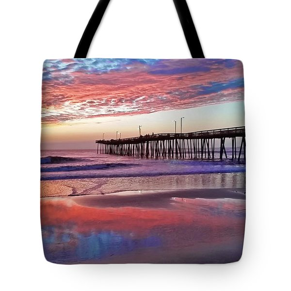 Fishing Pier Sunrise Tote Bag