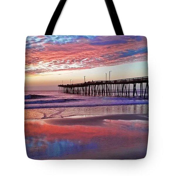 Fishing Pier Sunrise Tote Bag