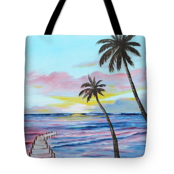 Fishing Pier Sunset Tote Bag