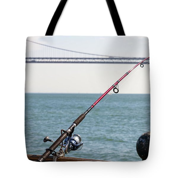 Fishing Rod On The Pier In San Francisco Bay Tote Bag