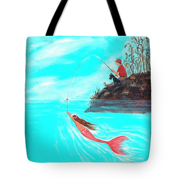Tote Bag featuring the painting Fishing Surprise by Leslie Allen