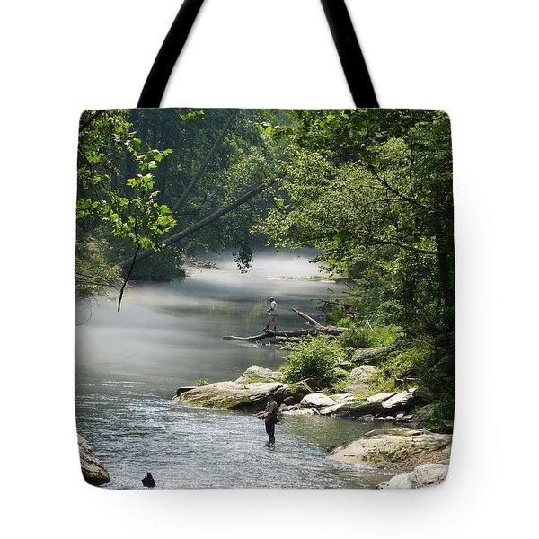 Tote Bag featuring the photograph Fishing The Gunpowder Falls by Donald C Morgan