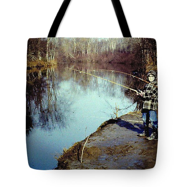 Tote Bag featuring the photograph Fishing The Kayaderoseres Creek In Saratoga Ny by Merton Allen