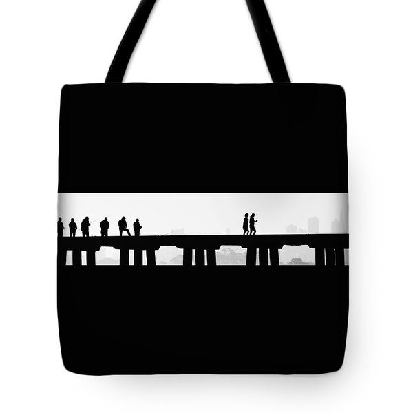 Tote Bag featuring the photograph Fishing The San Francisco Skyline by Steve Siri