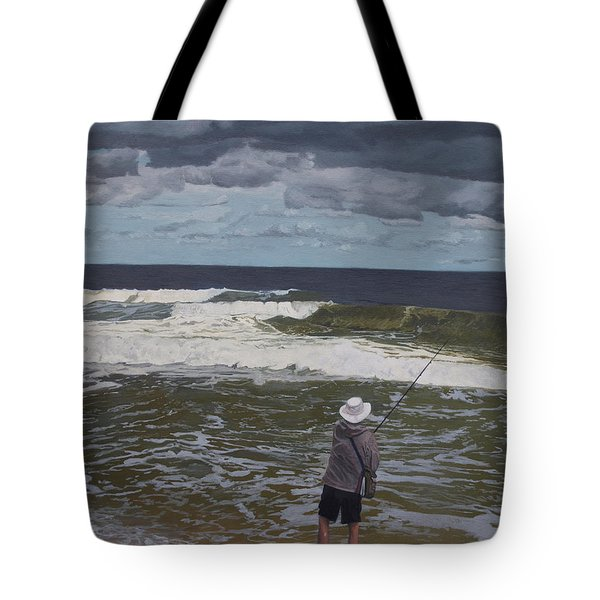 Fishing The Surf In Lavallette, New Jersey Tote Bag