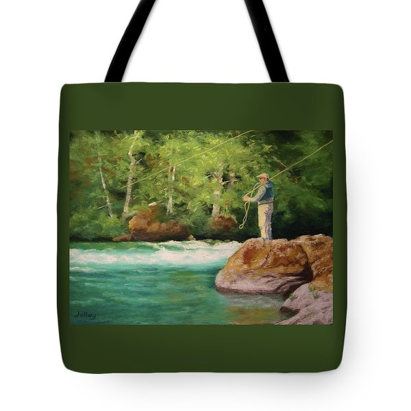 Fishing The Umpqua Tote Bag by Nancy Jolley
