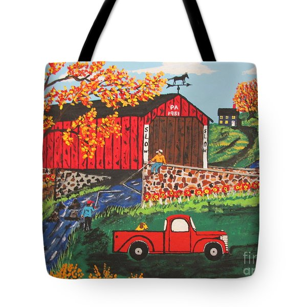 Tote Bag featuring the painting Fishing Under The  Covered Bridge by Jeffrey Koss