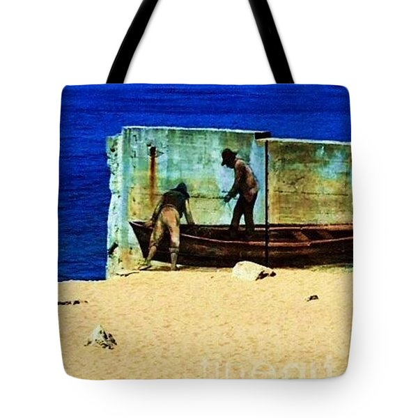 Fishing Tote Bag by Vanessa Palomino