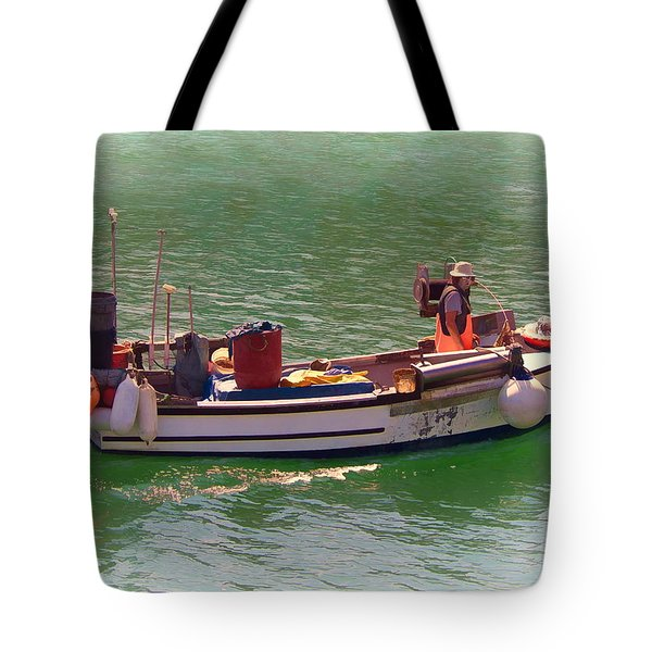 Tote Bag featuring the digital art Fishing Vessel  by Paul Gulliver