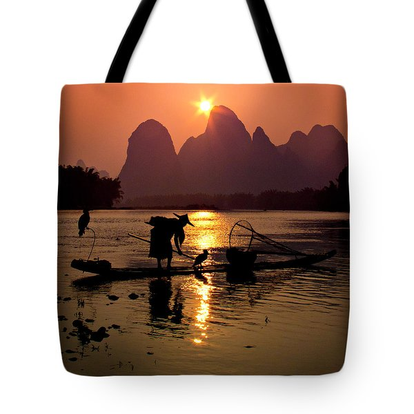 Fishing With Cormorants Tote Bag