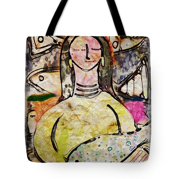 Tote Bag featuring the digital art Fishmonger's Wife by Alexis Rotella