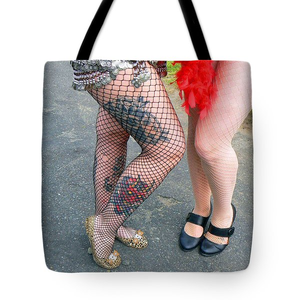Fishnet And Tattoos Tote Bag by Pamela Patch