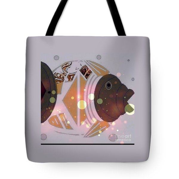 Tote Bag featuring the mixed media Fishy 2 by Ann Calvo