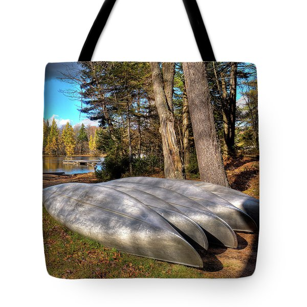 Tote Bag featuring the photograph Five Canoes At Woodcraft Camp by David Patterson