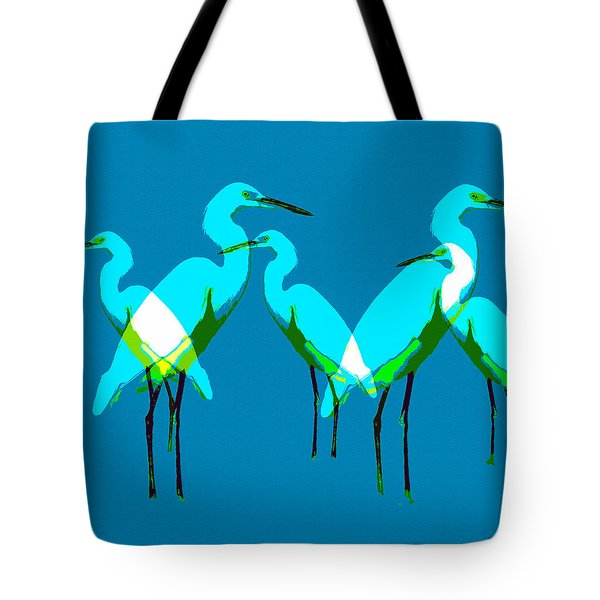 Tote Bag featuring the painting Five Egrets by David Lee Thompson