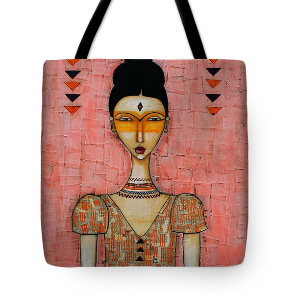 Tote Bag featuring the mixed media Five Feathers by Natalie Briney