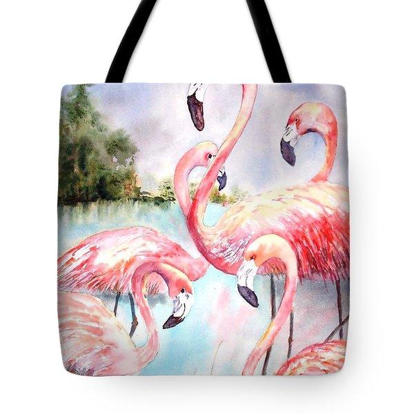Five Flamingos Tote Bag