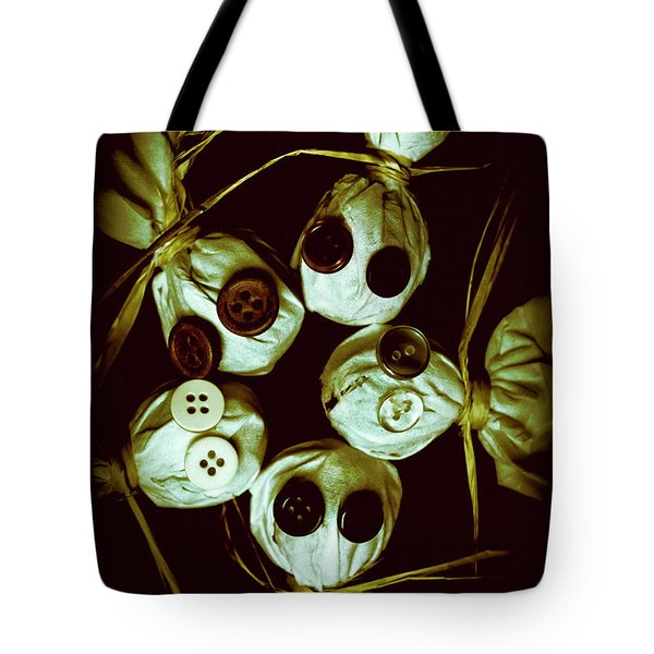 Five Halloween Dolls With Button Eyes Tote Bag