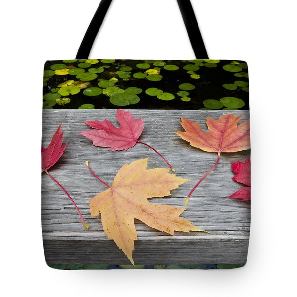 Tote Bag featuring the photograph Five Leaves On The Bridge  by Maria Janicki