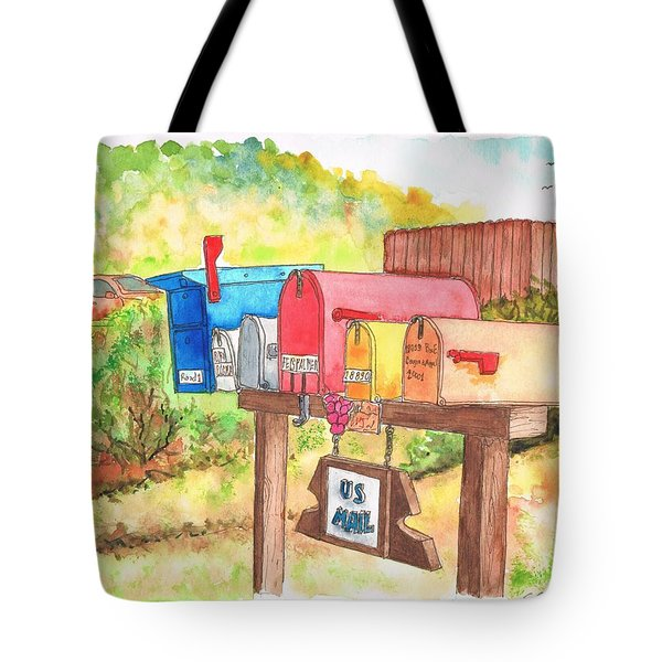 Five Mail Boxes In Route 1, San Simeon, California Tote Bag
