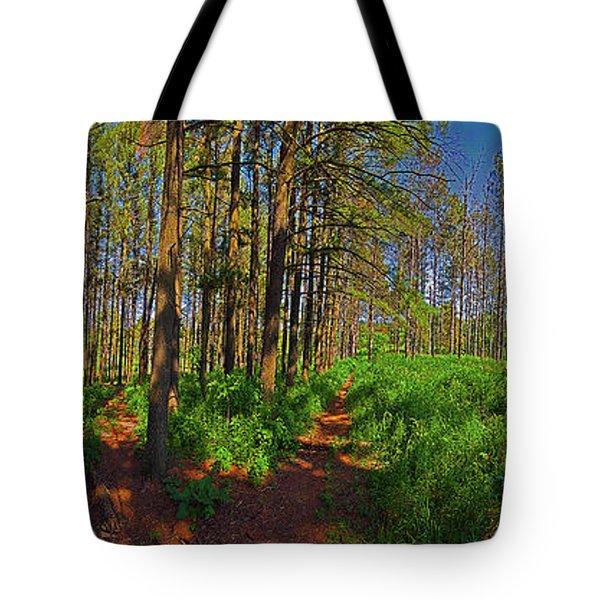Paths, Pines 360 Tote Bag