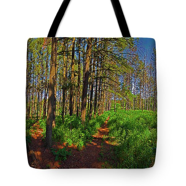Paths, Pines 360 Tote Bag