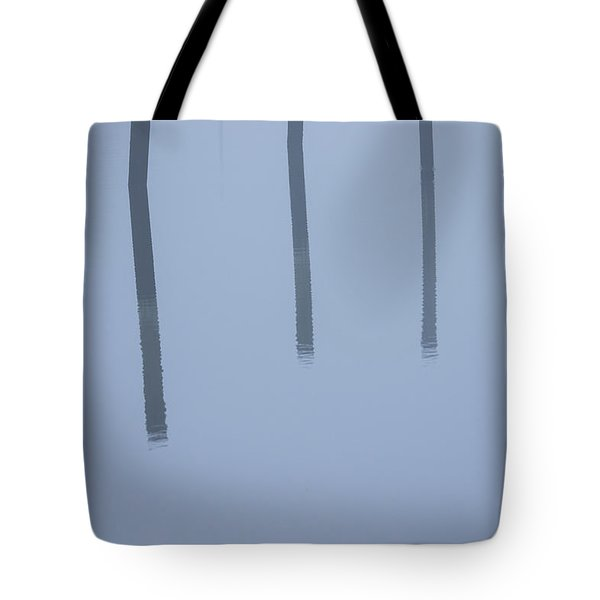 Tote Bag featuring the photograph Five Poles And A Duck by Karol Livote
