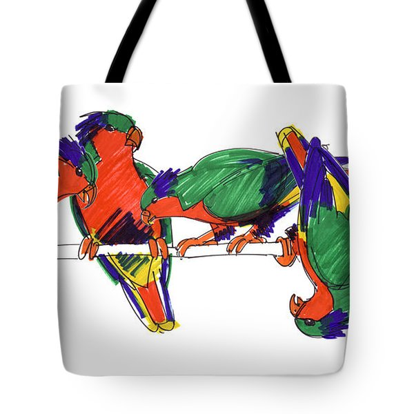 Tote Bag featuring the drawing Five Rimatara Lorikeets by Judith Kunzle