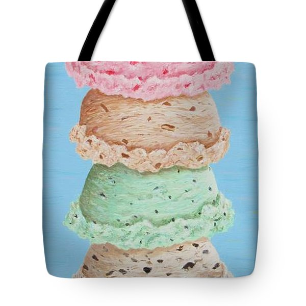 Tote Bag featuring the painting Five Scoop Ice Cream Cone by Nancy Nale