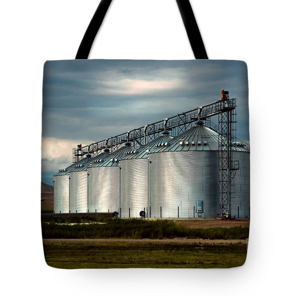 Tote Bag featuring the photograph Five Silos On The Plains Of The Texas Panhandle by MaryJane Armstrong