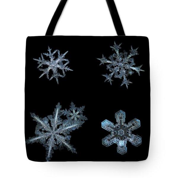Five Snowflakes On Black 3 Tote Bag