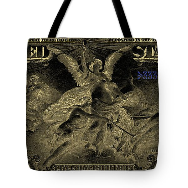 Tote Bag featuring the digital art Five U.s. Dollar Bill - 1896 Educational Series In Gold On Black  by Serge Averbukh