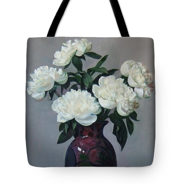 Five White Peonies In Purple Vase Tote Bag