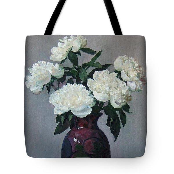 Five White Peonies In Purple Vase Tote Bag